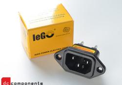 gniazdo IEC ze srebrnymi elementami przewodzącymi